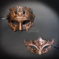 Roman Couple's Collection | Roman Masquerade Mask Set Rose Gold
