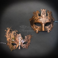 Roman Couple's Collection | His and Her's Masquerade Mask Rose Gold