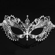 Darker Collection | Metal Masquerade Mask Silver w Rhinestones