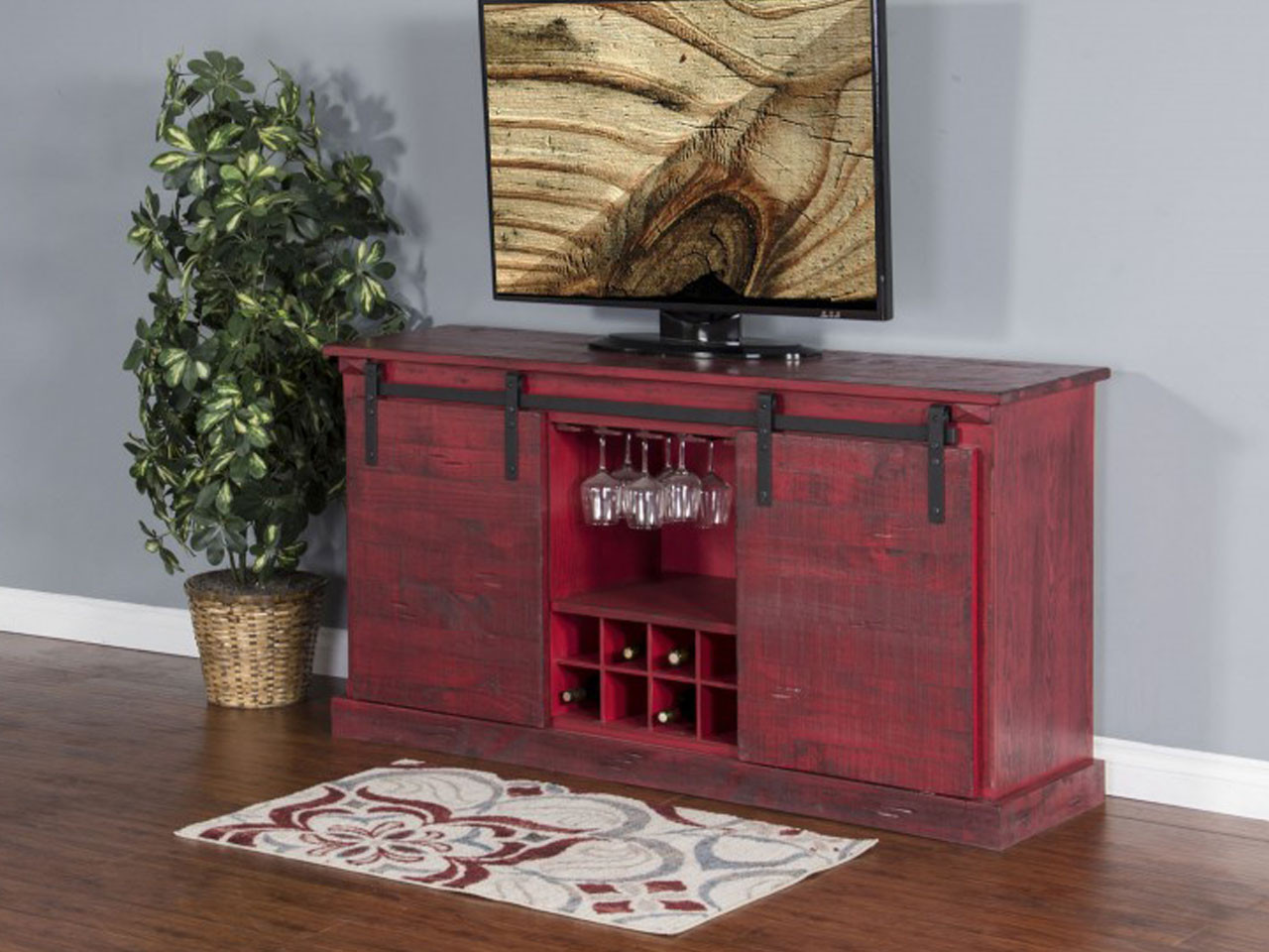 65 burnt red barn door tv console bar vintage oak 3577 br b bar tv stand geotapseo Image collections