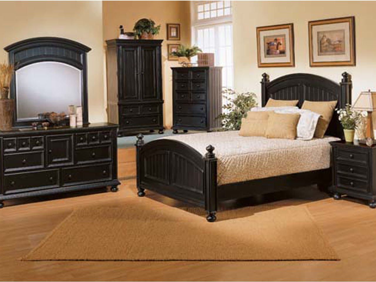 Cape Cod Panel Bed Black Country Style Full Size
