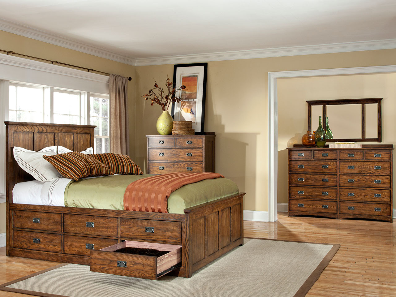 Oak Park Captains Bed Vintage Oak