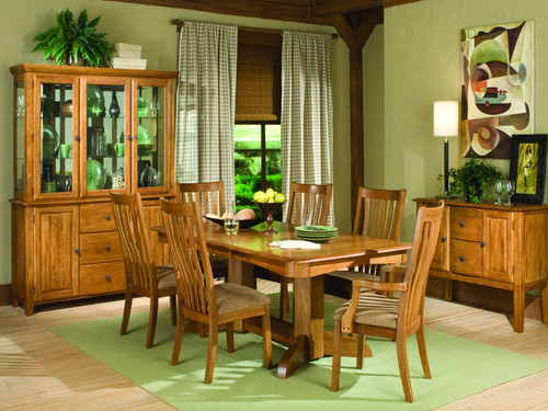 The Highland Park Collection Product Description:  The Highland Park Collection by Intercon has a beautiful Rustic finish with a Solid Oak table and chairs made to last for generations. A charming sideboard and china cabinet offers plenty of space for organizing and display.