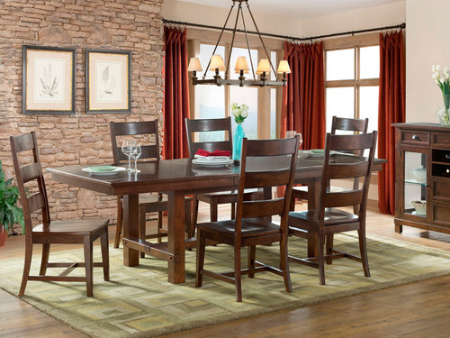 Star Valley Ladder back Side Chair & Table Set   Star Valley Collection by Intercon offers quality and beauty with its Solid American Cherry construction and a deep rustic finish. Chairs have Wood Seats