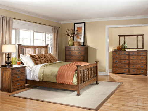 •Authentic Arts and Crafts Styling •Beautiful Mission finish •Five styles of case pieces available to match bed •Available sizes: California King, Eastern King & Queen •Slat bed only offered with non-storage rails