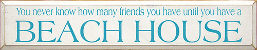 Shown in Old Cottage White with Turquoise lettering