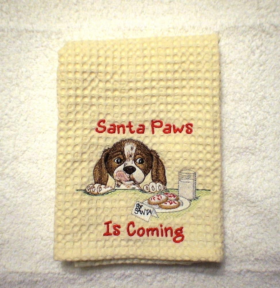 Dish Towels - Santa Paws Is Coming (Cream)