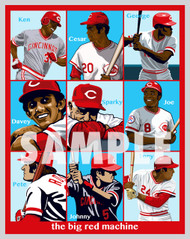 Digital Illustration of The Big Red Machine - one of the All-Time greatest baseball teams, featuring The Great Eight and Manager Sparky Anderson!