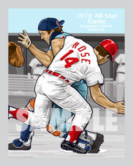 Digital Illustration of one of the All-Time great sports moments, Rose running over Fosse to win the 1970 All-Star Game!!