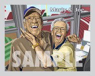 Digital illustration of two Legends of Cincinnati, Joe Nuxhall  and Hall of Famer Marty Brennaman!