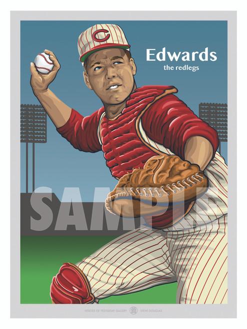 Digital Illustration of a Cincinnati fan favorite Gold Glove winner catcher Johnny Edwards.