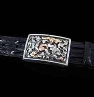 "Handmade Sterling Silver 1 1/2"" Buckle with Sterling Silver, 14K Yellow & Rose Gold 3D Overlays"