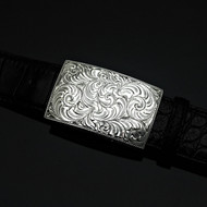 "Handmade Sterling Silver Engraved 1 1/2"" Trophy Buckle"
