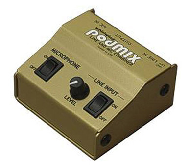 Whirlwind podMIX - This is a passive mixer that combines a microphone with a stereo, line level audio source and reduces them to mic level for connection to a single channel input of a sound system.