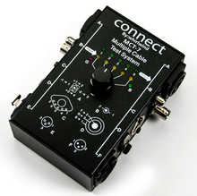 Whirlwind MCT-7 - This diagnostic cable tester has connectors for analyzing almost any type of cable combination. The convenient rotary switch allows testing of each conductor within the cable and can determine the internal wiring configuration. Tests NL4, 5 pin DIN, BNC, XLR, TRS, RCA and 3.5 mm types.