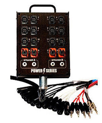 """Whirlwind MP-12 (Medusa Power) - The Medusa Power Series is designed specifically for use with mixing boards that incorporate built-in power amplifiers. 12 INPUTS : 4 TRS RETURN : 4 SPEAKER JACKS (1/4"""") (50' / 100' / 150')"""