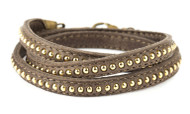 Lenny and Eva Leather Wrap - Taupe Studded