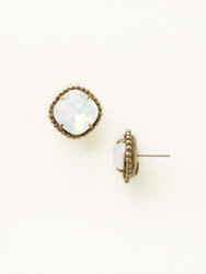 Sorrelli White Opal Solitaire Earring - Gold