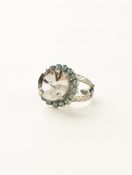 Sorrelli Crystal Moss Round Cut Cocktail Ring - Silver