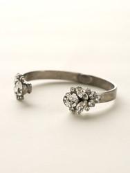Sorrelli Clear Crystal Cluster Cuff Bracelet - Silver