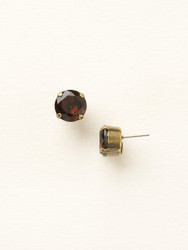 Sorrelli Burgundy Crystal Stud Earring - Gold