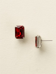 Sorrelli Cranberry Petite Emerald Cut Post Earring - Silver