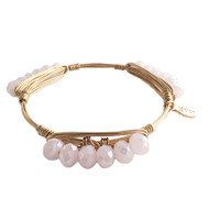 Bourbon and Boweties Bangle - Baby Pink Pebbles