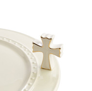 Nora Fleming White and Gold Cross Mini