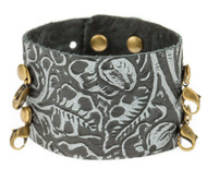 Lenny and Eva Wide Cuff in Embossed Black