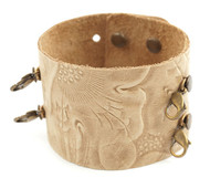 Lenny and Eva Embossed Wide Cuff in Natural