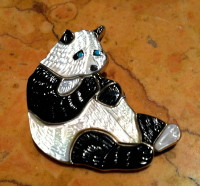Zuni Panda Bear Multi Color Inlay Pin Pendant Virgil & Shirley Benn