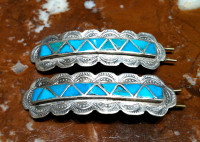 BARRETT ZUNI SILVER BLUE GEM TURQUOISE INLAY JEWELRY SOLD
