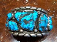 BRACELETS ZUNI NAVAJO SILVER PAWN TURQUOISE NUGGET Wayne Cheama SOLD