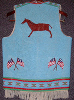Native American Indian Style Fully Beaded Vest with Horse Motif