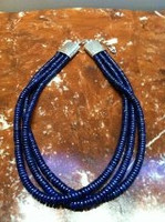 AFGHANISTAN LAPIS 3 STRAND HEISHI NECKLACE 1 AL3SHNK2