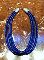 AFGHANISTAN LAPIS 3 STRAND HEISHI NECKLACE 1 SOLD