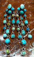 EARRINGS NAVAJO CASCADING DROPS OF TURQUOISE DANGLE STYLE FASHION DESIGN LONG Lincoln SOLD