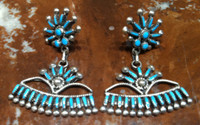 EARRINGS ZUNI TURQUOISE NEEDLEPOINT FAN DANGLE VS Johnson