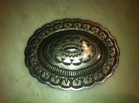 BELT BUCKLE NAVAJO SILVER STAMPED OVAL