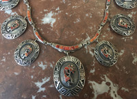 NAVAJO KOKOPELLI RARE ORANGE SPINY OYSTER SHELL SILVER OVERLAY NECKLACE