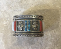 1970's Private Collection Zuni Mother Of Pearl Coral Turquoise Sterling Bracelet