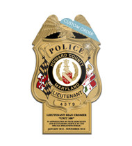 CUSTOM BADGE PLAQUE WITH BOTTOM TAB (Law Enforcement) - PERSONALIZED