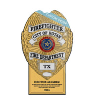 CUSTOM BADGE PLAQUE WITH BOTTOM TAB (Fire Rescue & EMS) - PERSONALIZED