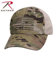 Rothco's Mesh Back Tactical Cap with US Flag features an embroidered US Flag on the front Multicam panel.