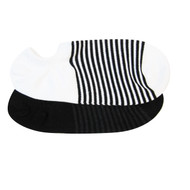 Sock Cafe Mens PK2 cotton stripe and solid sneaker socks in white and black