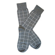 Sock Cafe Mens PK1 fine cotton knit Grid Oxford crew socks in charcoal marle with windchime