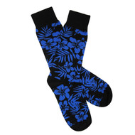Sock Cafe Mens PK1 fine cotton knit Tropical Oxford crew socks in black with dazzling blue