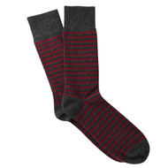 Sock Cafe Mens PK1 cotton contemporary Manhattan Stripe crew socks in charcoal marle and burgundy