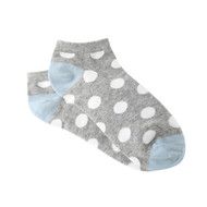 Sock Cafe Women's PK1 Mode Spot Cotton Low Cut - Grey Marle and Mineral Blue