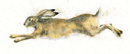 Hand embellished Hare artwork by Kay Johns